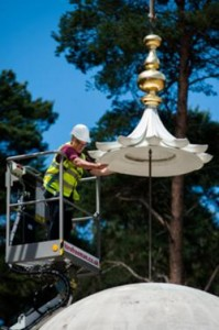 The Finial being lowered into place as shown in the BBC documentary 'Britain's Muslim Soldiers'